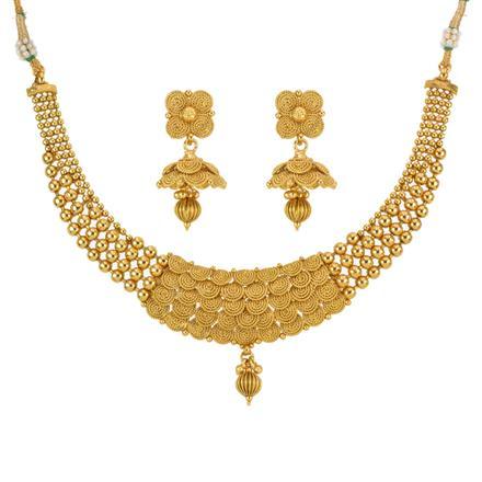 13294 Antique Plain Gold Necklace