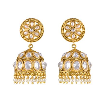 13297 Antique Jhumki with gold plating