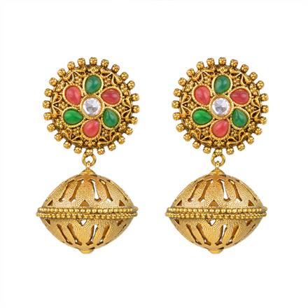 13299 Antique Jhumki with gold plating