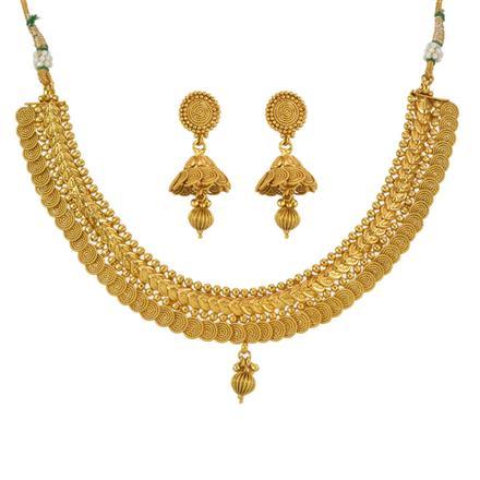 13304 Antique Plain Gold Necklace