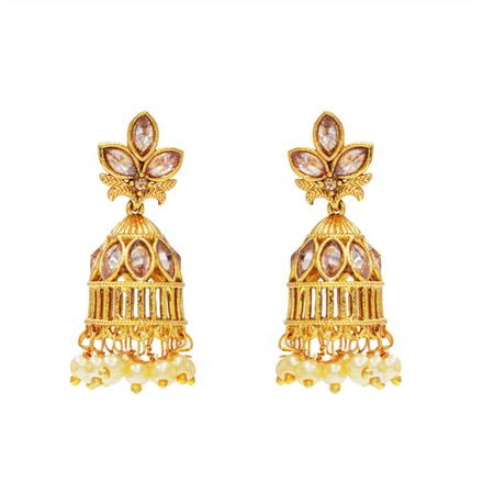 13343 Antique Jhumki with gold plating
