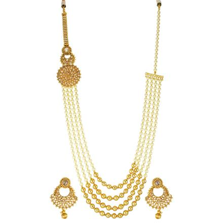 13370 Antique Side Pendant Necklace with gold plating