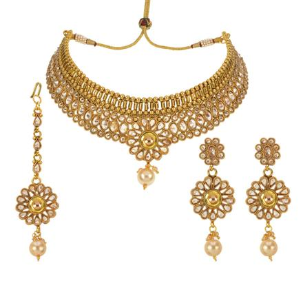 13373 Antique Mukut Necklace with gold plating