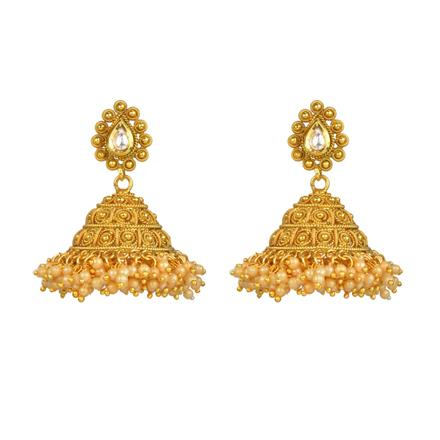 13430 Antique Jhumki with gold plating
