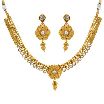 13448 Antique Delicate Necklace with gold plating