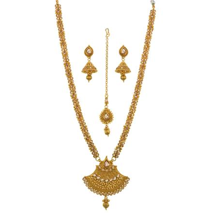 13516 Antique Long Necklace with gold plating