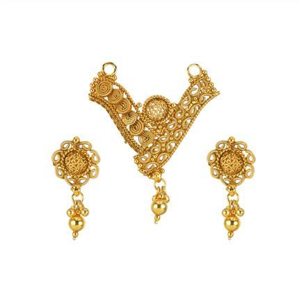 13534 Antique Plain Gold Mangalsutra
