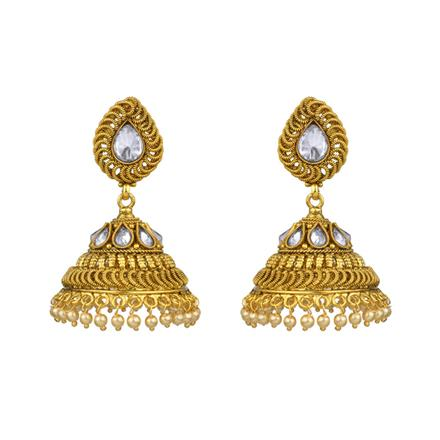 13539 Antique Jhumki with gold plating