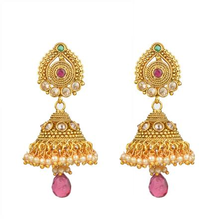13542 Antique Jhumki with gold plating