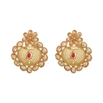 13576 Antique Chand Earring with gold plating