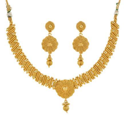 13586 Antique Plain Gold Necklace