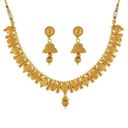 13587 Antique Plain Gold Necklace