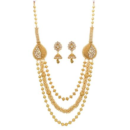 13607 Antique Long Necklace with gold plating