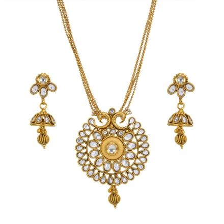 13621 Antique Peacock Pendant Set with gold plating