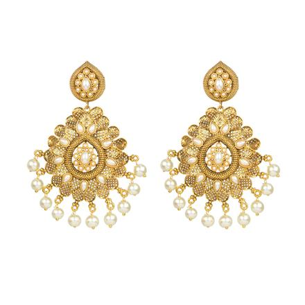 13628 Antique Long Earring with gold plating