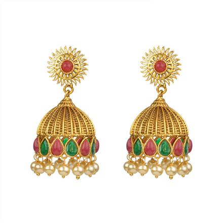 13630 Antique Jhumki with gold plating