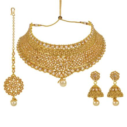 13642 Antique Mukut Necklace with gold plating