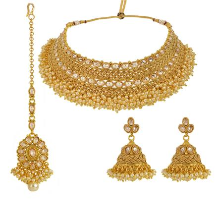 13643 Antique Mukut Necklace with gold plating