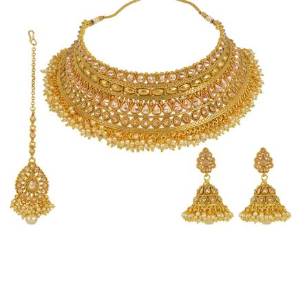 13644 Antique Mukut Necklace with gold plating