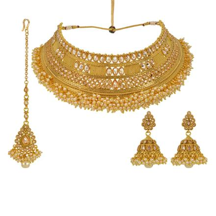 13645 Antique Mukut Necklace with gold plating