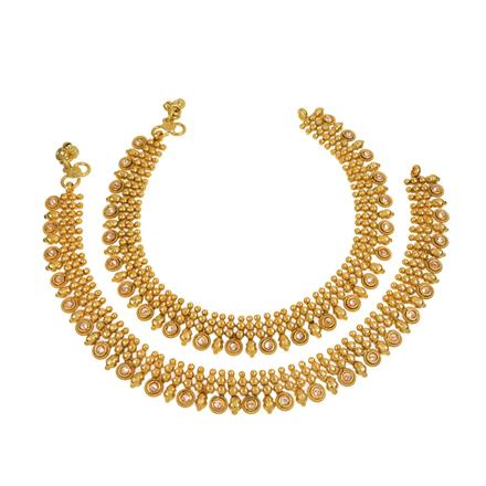 13649 Antique Classic Payal with gold plating
