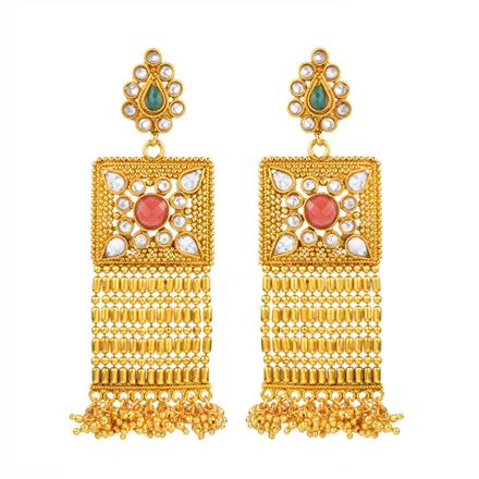 13655 Antique Long Earring with gold plating