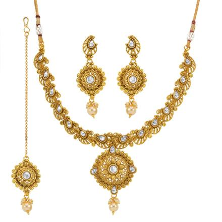 13669 Antique Classic Necklace with gold plating