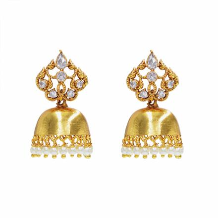 13682 Antique Jhumki with gold plating