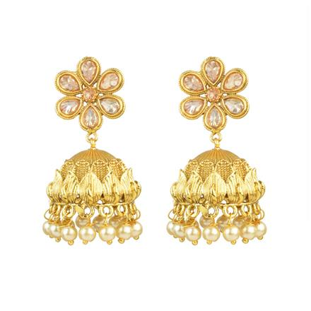 13683 Antique Jhumki with gold plating