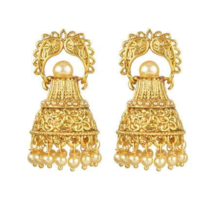 13695 Antique Jhumki with gold plating