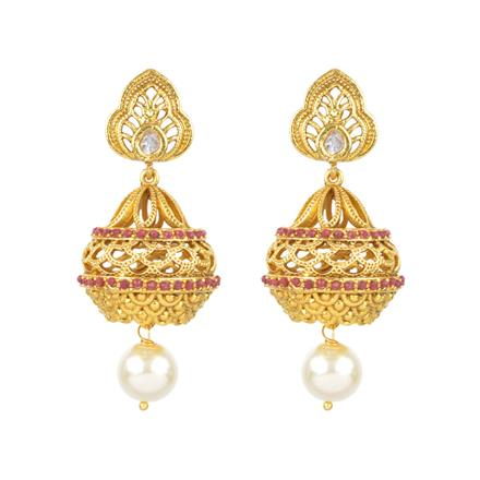 13698 Antique Jhumki with gold plating