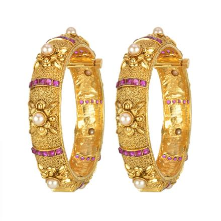 13703 Antique Classic Bangles with gold plating