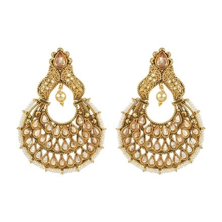 13717 Antique Chand Earring with gold plating