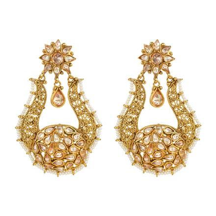 13718 Antique Long Earring with gold plating