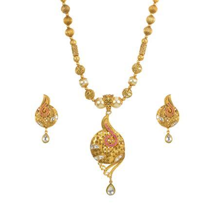 13740 Antique Mala Pendant Set with gold plating