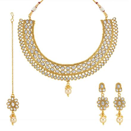 13764 Antique Classic Necklace with gold plating