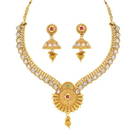 13814 Antique Classic Necklace with gold plating