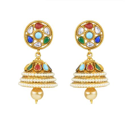 13894 Antique Jhumki with gold plating