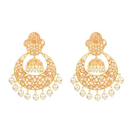 13906 Antique Chand Earring with gold plating