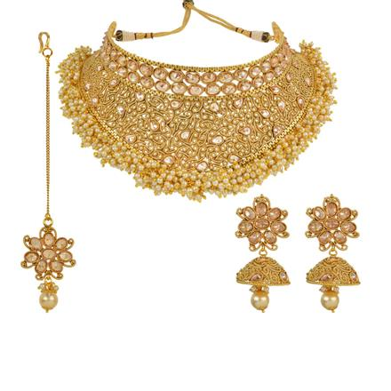 13918 Antique Mukut Necklace with gold plating