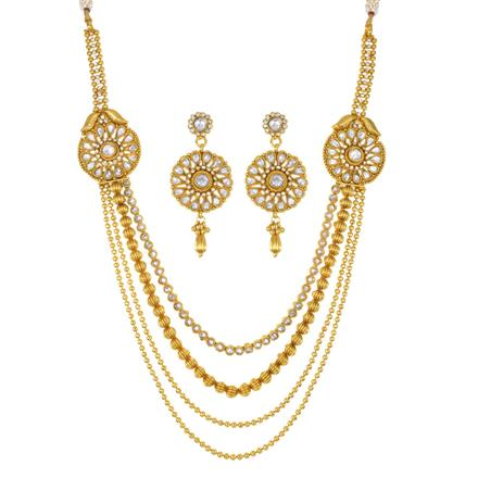 13962 Antique Side Pendant Necklace with gold plating