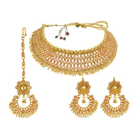 13998 Antique Mukut Necklace with gold plating