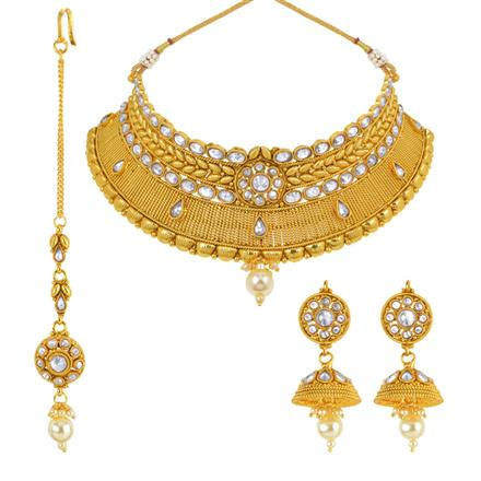 14002 Antique Mukut Necklace with gold plating
