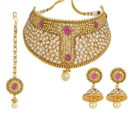14003 Antique Mukut Necklace with gold plating