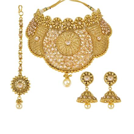 14004 Antique Mukut Necklace with gold plating