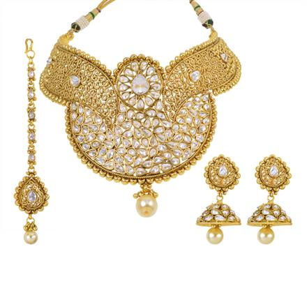 14005 Antique Mukut Necklace with gold plating