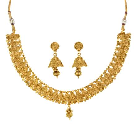 14022 Antique Plain Gold Necklace