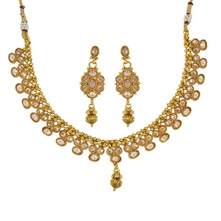 14031 Antique Delicate Necklace with gold plating