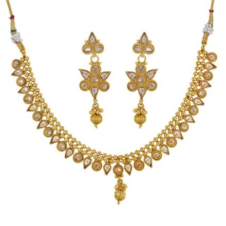 14037 Antique Delicate Necklace with gold plating