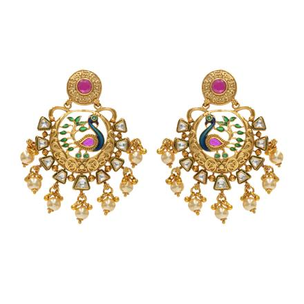 14232 Antique Peacock Earring with gold plating